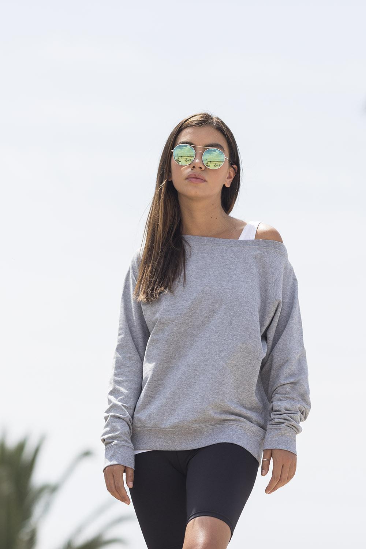Skinni Fit Womens//Ladies Cropped Slounge Sweatshirt PC3561